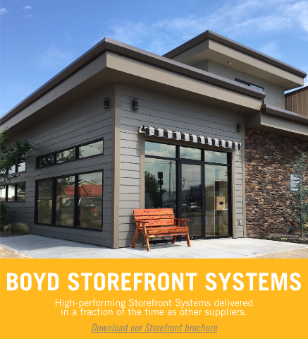 Commercial storefront and interior storefront systems, like those in our storefront sketches, are delivered faster with Boyd.